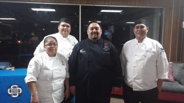 Chef Brian Tatsukawa poses with students, from left, Laurencita Billiman, Walter Cloud, and J.D. Kinlacheeny after each student passed their practical exam on November 8, 2014. All three students passed the written portion of the Certified Sous Chef exam on December 5, making them ACF Certified Sous Chefs.