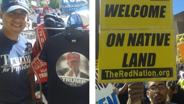 Natives turned out for Donald Trump in Albuquerque on Tuesday, some supporting the New York billionaire in his run for presidency and some against it.