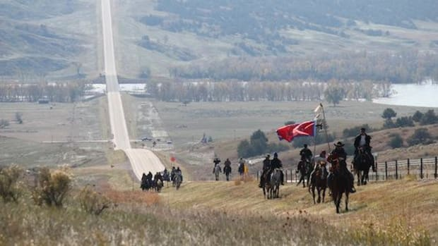 Horseback riders traveled along three proposed pipeline routes to show the terrain they would traverse and the lives they'd put at risk.