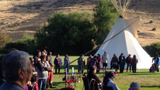 Shoshone, Paiute, and Bannock people gather for a sunrise service at the Return of the Boise Valley People gathering earlier this month.