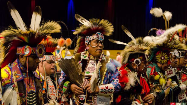 Dancers at the Spotlight 29 Pow Wow, which takes place December 8-10th in Coachella, California.