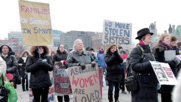 Between 2,000 and 5,000 people turned out in Vancouver alone to commemorate disappeared and murdered aboriginal women and protest the lack of resolution to their cases, which number in the hundreds.