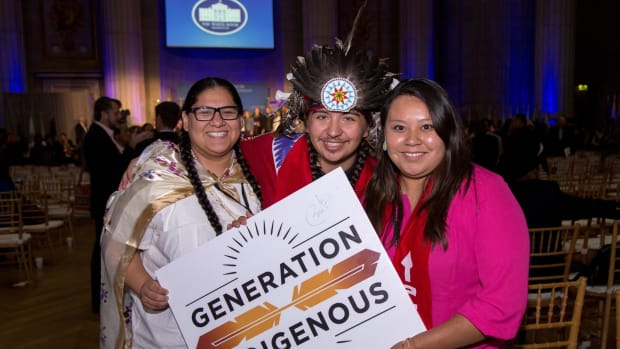 Youth, elders and leaders from across Turtle Island converged on what some said could be the last White House Tribal Nations Conference (WHTNC). In this photo, Generation Indigenous representing with smile.