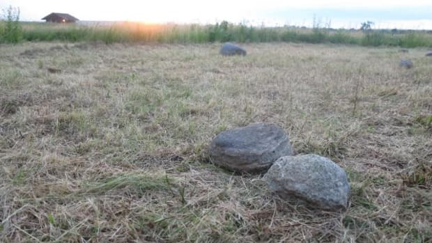 Deceptively simple, these stones help to form a kite-shaped ancient petroform that marked the summer and winter solstices on the Minnesota prairie. These are part of a recreation, made just last week at the Jeffers Petroglyphs. The actual observatory form is on a private site, too delicate and easily disrupted to be viewed by the general public.
