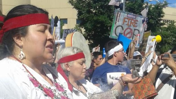 Natives in the Albuquerque area took part in a peaceful protest outside a Donald Trump rally on Tuesday. As the sunset some protesters turned to aggression and violence.