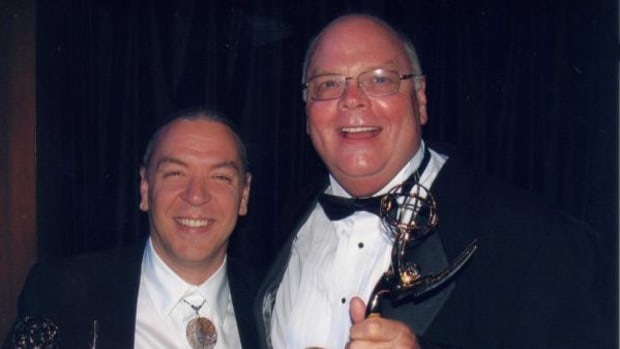 """Chickasaw classical composer Jerod Tate and OETA Deputy Director Bill Perry at the Heartland Regional Emmy Awards ceremony in Oklahoma City.  The two received Emmys for their work on the documentary, """"The Sciences of Composing."""""""