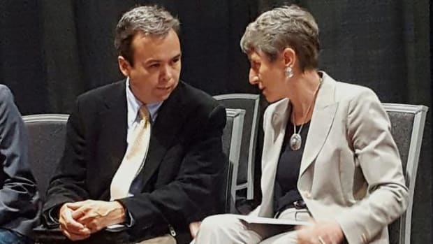 Interior Department Secretary Sally Jewell catches up with Acting Assistant Secretary – Indian Affairs Larry Roberts at the National Congress of American Indian's mid-year convention in Spokane in June.
