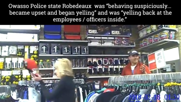 Robert Robedeaux, Pawnee, Ponca, Otoe nations, who was shopping at Hibbett Sports in Owasso, Oklahoma filmed himself being escorted off the property by three police officers, he says it was racially motivated.