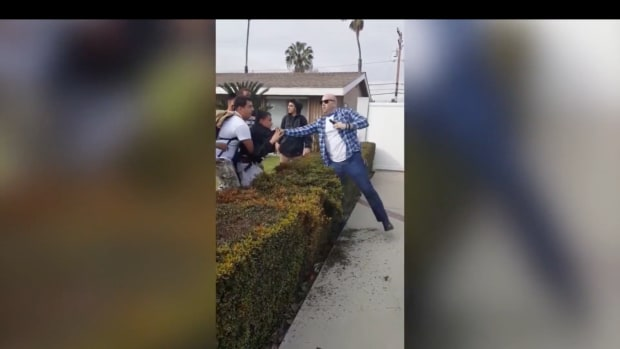 An unidentified off-duty LAPD officer shot his weapon during a scuffle with a group of youths in Anaheim, California, on Tuesday. The man was not arrested and no charges have been filed against him.