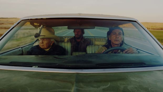 Dave Bald Eagle, Christopher Sweeney and Richard Ray Whitman in 'Neither Wolf Nor Dog.' Courtesy Roaring Fire Films