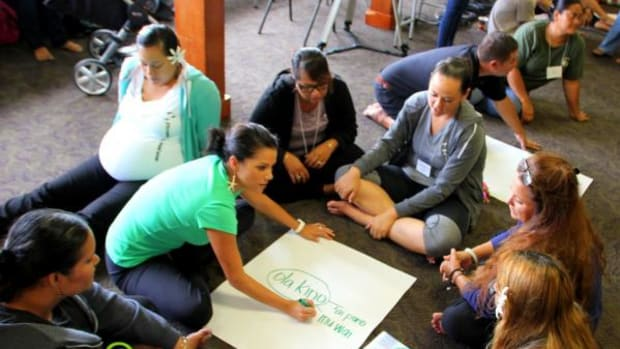 This image shows a Hawaiian language teacher training in the summer of 2014.
