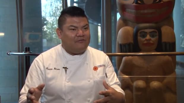 """Classically trained chef Freddie Bitsoie, Navajo, said he sees part of his job at the National Museum of the American Indian as being a """"curator"""" for the food histories of Native Americans."""