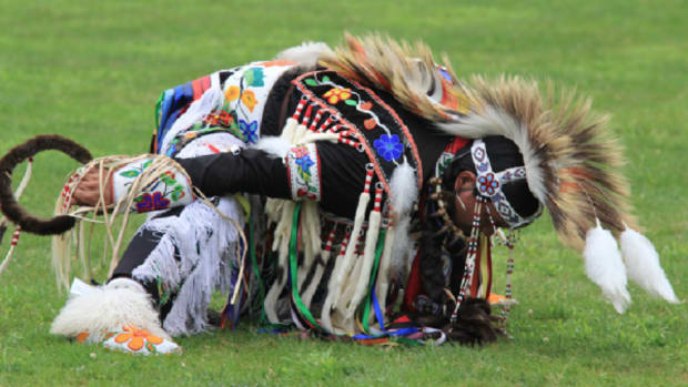 Adam Nordwall, a grass dancer, competes at the 24th Annual Seneca Casino Veterans Pow Wow