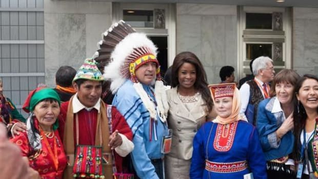 Participants at the World Conference on Indigenous Peoples, held at the UN Headquarters in September.