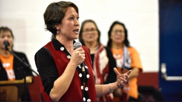 Melanie Mark speaks at a rally in January during her campaign as New Democratic Party candidate for the British Columbia Legislature. She won with 60 percent of the vote, making history as the first First Nation person elected.
