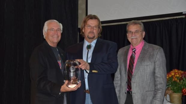 Pictured, from left, are Cherokee Nation Principal Chief Bill John Baker presented Contech LLC owner Bryan Adair with the Certified Indian-Owned Large Business of the Year award as Deputy Chief S. Joe Crittenden congratulated Adair.