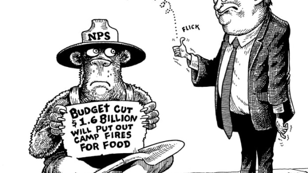 National Park Service Gets Chump Change; Cartoon by Marty Two Bulls