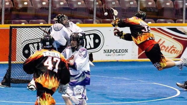 An airborne Mike Miller, Six Nations, fields a shot with the Ohsweken Demons lacrosse team. The team is aiming to win the Creator's Cup in the Canadian Lacrosse League (C-Lax) championships starting Friday January 15.