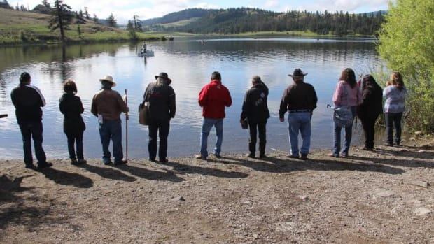 Stkemlupsemc te Secwepemc Nation (SSN) members and officials held a water ceremony at Lake Jacko, sacred to the SSN and in danger from the proposed Ajax Mine.