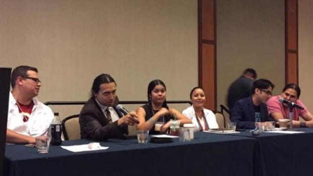 From left, Migizi Pensoneau, Bobby Wilson, Tara Houska, Amanda Blackhorse, Simon Moya-Smith, and Dallas Goldtooth speak on a panel about the detriment of Native American mascots at NAISA in Washington, D.C. on June 6.
