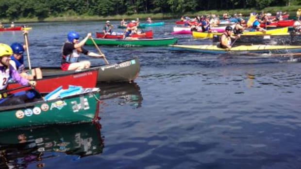 More than 60 paddlers gathered on the Penobscot River in Bangor in solidarity with the Penobscot Nation regarding its legal battle with the State of Maine over river jurisdiction, water rights and water quality.