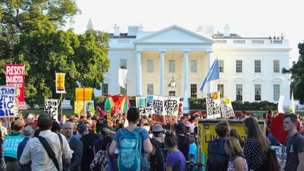 About 500 people rallied outside the White House on Tuesday September 13 to call for an end to the Dakota Access pipeline. They were joined by Senator and former Presidential candidate Bernie Sanders and former White House environmental advisor Van Jones.