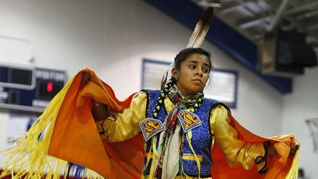 19th Annual Wildhorse Pow-Wow Princess, Katianna Warren, Diné, 16, dances during the only competition of the weekend, on Saturday afternoon, Feb. 14, 2015.