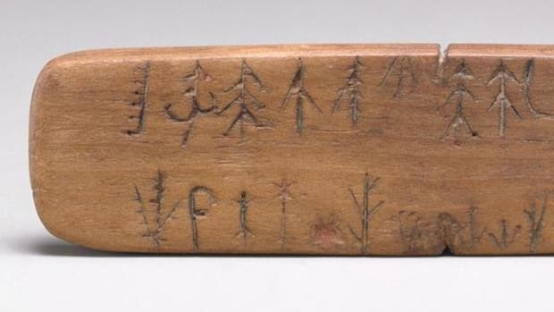 Early 19th-century prescription stick from present-day Kansas, belonging to the Potawatomi, from the collection of the Metropolitan Museum of Art.