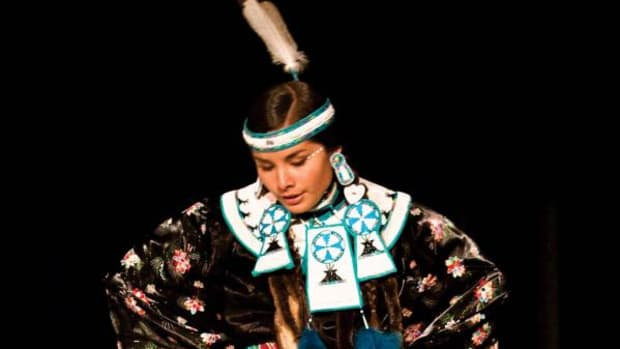 Valerie Adrian, Oglala Lakota/Coeur d'Alene, of Washington state performs on Saturday night, Oct. 6, during the 101st Annual Northern Navajo Nation Fair Contest Powwow in Shiprock. (Photo Credit: Diego James Robles)