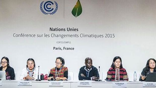 Indigenous negotiators at the COP21. Victoria Tauli-Corpuz, UN Special Rapporteur on the Rights of Indigenous Peoples, third from left.