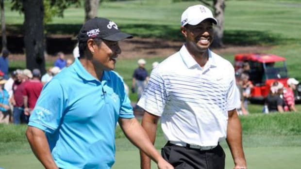 Notah Begay III and Tiger Woods at the 2012 NB3 Challenge. Woods is slated to join the field of 12 players again this year to take part in the charity event.