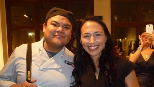 Navajo Chef Freddie Bitsoie socializes with actor Irene Bedard at the Sleeping Lady Films/Waking Giants Productions pre-launch party in November.