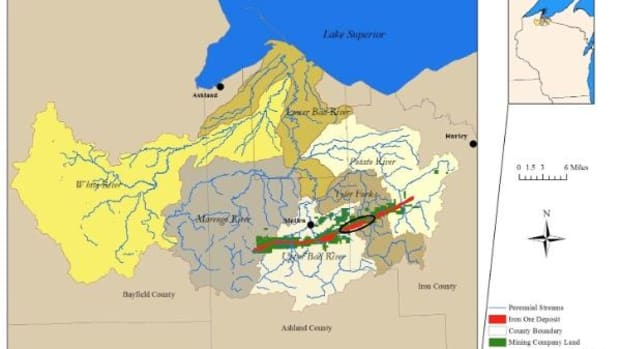 A map showing the proposed area the iron-ore, open-pit mine would be operating from, which consists of 40 percent of the Lake Superior Basin coastal wetlands and is within the Bad River Reservation.