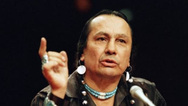Frank Lamere shared a story about a 1999 Whiteclay, Nebraska protest where he was arrested with the late Russell Means, pictured, during an honoring ceremony on February 27 coinciding with the 40th anniversary of the start of the 1973 occupation of Wounded Knee.