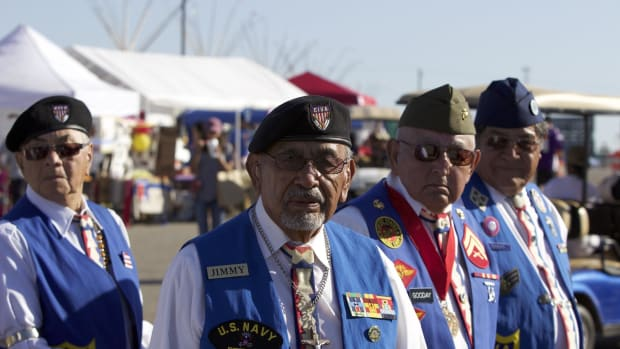 The Comanche Nation Fair, touted as the largest fair in southwest Oklahoma,marks its 25th year in existence. - Pictured: Jimmy Caddo with the Comanche Indian Veterans Association C.I.V.A.