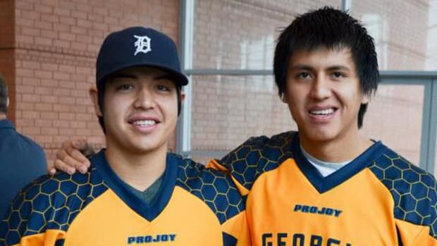 Wearing their new jerseys, Miles and Lyle Thompson are getting ready for their first press conference with The Georgia Swarm at The Infinite Energy Center in Gwinnett County, GA on October 26th, 2015