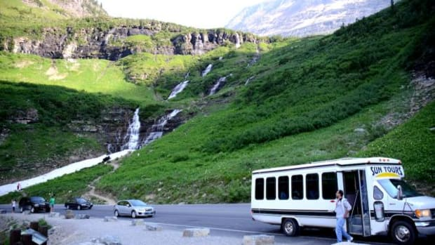 Sun Tours operates nine bus tours within Glacier National Park all with the goal of explaining Blackfeet history in their ancestral homeland. The tour is only operated about 4 months a year because snow prevents crossing Logan Pass, but views are spectacular of glaciers, waterfalls, and wild flowers