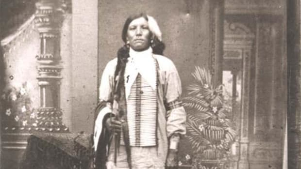 The Custer Battlefield Museum in Garryowen, Montana, says the man in this picture is Crazy Horse. Native historians and photography experts aren't so sure. Image source: Wikimedia Commons