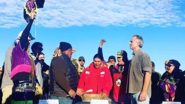 Water protectors honored Robert F. Kennedy Jr. with song and gifts on his visit to the Oceti Sakowin camp opposing the Dakota Access Pipeline.