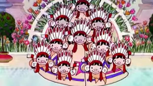 "This screen capture from the 1933 Disney cartoon ""Old King Cole"" begins with ""Ten Little Indians"" and shows all of Storyland war-whooping and dancing with them."