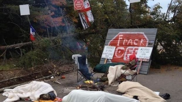 Protesters against fracking in Kent County, New Brunswick, Canada, slept on the ground overnight on September 30 to try and stop SWN Resources Canada from conducting seismic testing for potential fracking.
