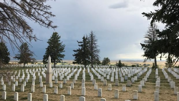 Soldier monuments at the Battle of Little Bighorn memorial.
