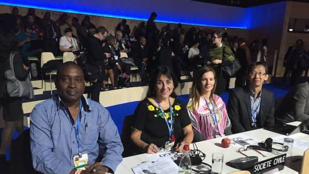 Indigenous delegates at high level opening plenary, COP21 on November 30. Andrea Carman, Executive Director, International Indian Treaty Council, second from left.