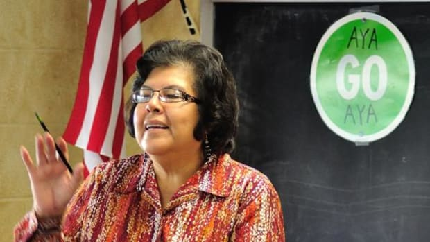 Merry Monroe teaches her Chickasaw language class at Byng High School.