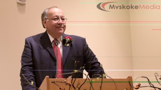 Muscogee (Creek) Principal Chief George Tiger accepts the Helen Chupco Leadership Award at the Oklahoma Federation of Indian Women's Statewide Awards on May 2 at the Chickasaw Cultural Center in Sulphur, Oklahoma.