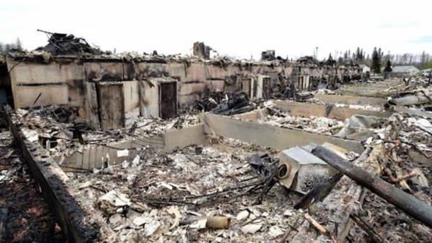 A burned-out neighborhood in Fort McMurray, Alberta, Canada on Monday, May 9, 2016. First Nations have been reaching out to evacuees with offers of supplies, shelter and even gas.