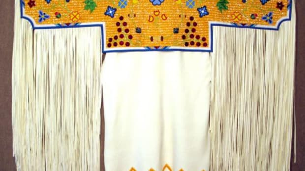 The regalia for Women's Northern Traditional, the oldest style of women's dance, is updated with modern patterns and bead colors.