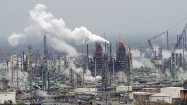 The future of refineries such as Exxon Mobil's in Baton Rouge, Louisiana, could be going up in smoke because of low oil prices as the oil industry loses power.