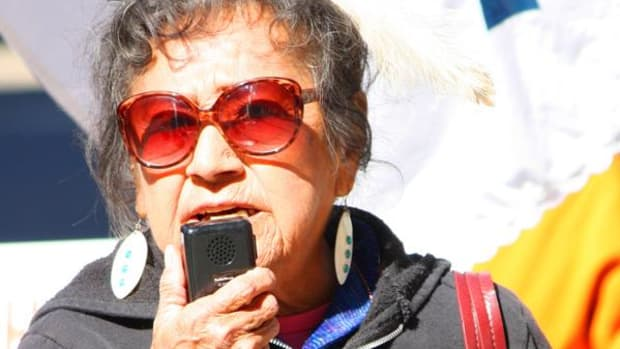 """Virginia Allrunner, Cheyenne, 81, said Idle No More will have to remain vigilant to protect the earth and to uphold """"our Indian way of life."""" An elder and long-time activist, she has turned her attention to INM and its possibility of constructive change."""