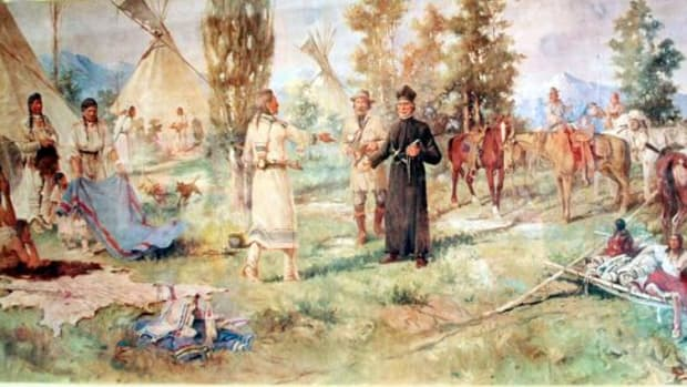 Father De Smet is depicted here meeting with Flathead Indians in Montana.